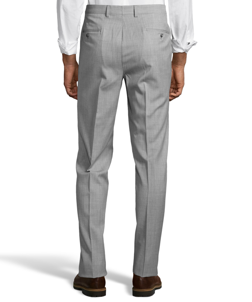 Palm Beach 100% Wool Gabardine Grey Flat Front Pant Big and Tall - Blue Lion Men's Apparel - 2