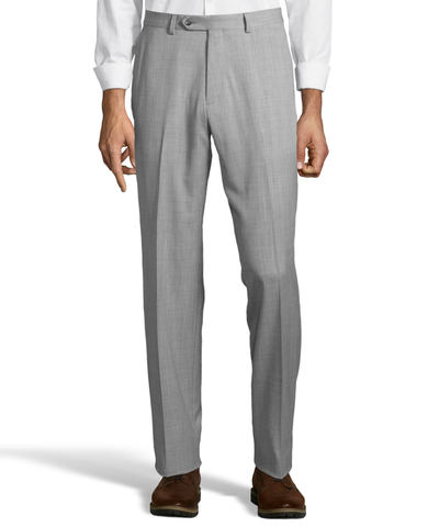 Palm Beach 100% Wool Gabardine Grey Flat Front Pant