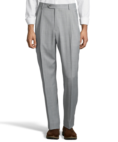 Palm Beach 100% Wool Gabardine Grey Pleated Pant Big and Tall