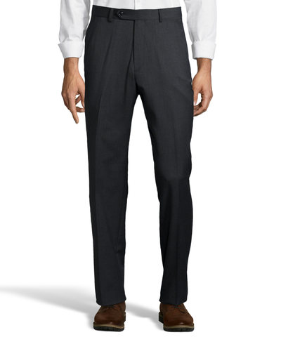 Palm Beach 100% Wool Gabardine Charcoal Flat Front Pant