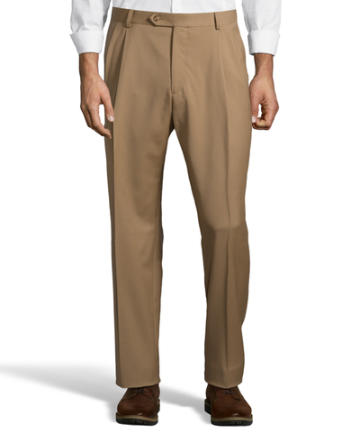 Palm Beach 100% Wool Gabardine Caramel Pleated Pant