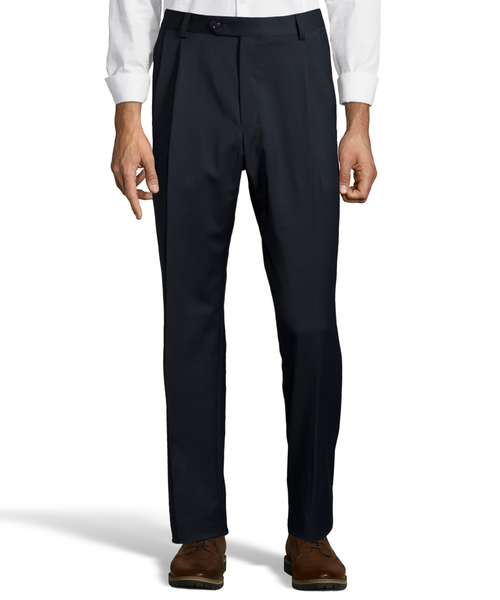 Palm Beach 100% Wool Gabardine Navy Pleated Pant