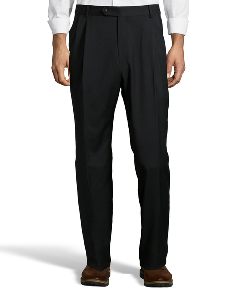 Palm Beach 100% Wool Gabardine Black Pleated Pant Big and Tall