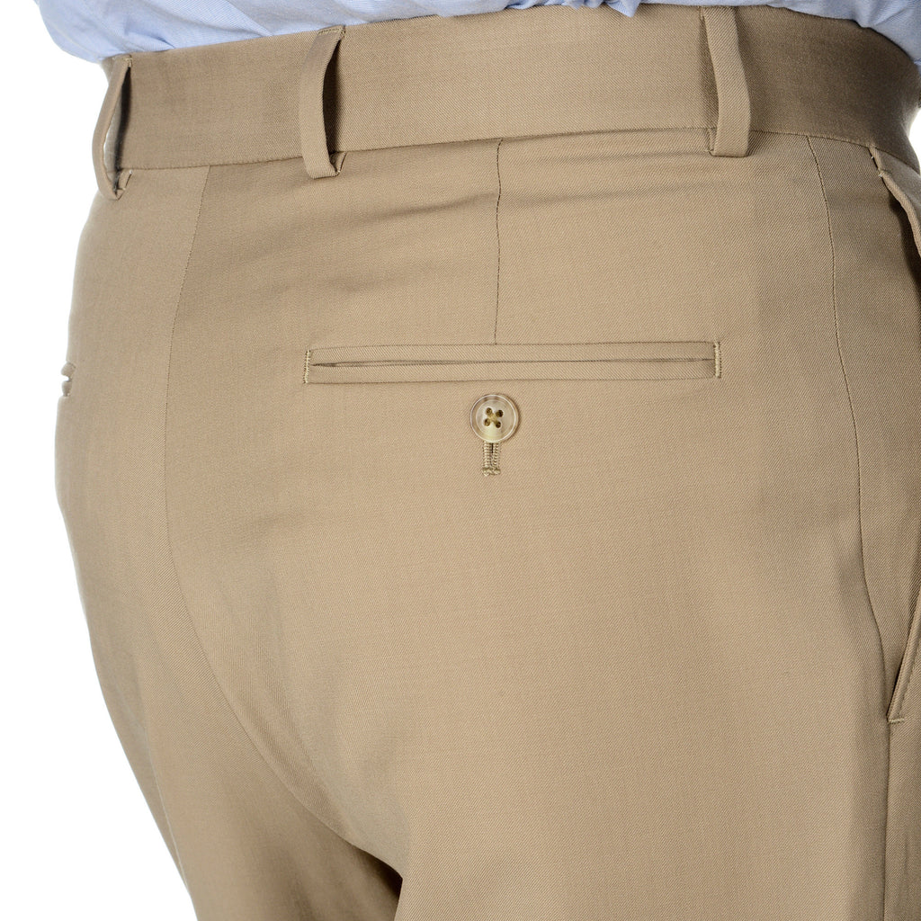 Palm Beach 100% Wool Gabardine Tan Pleated Pant Big and Tall - Blue Lion Men's Apparel - 3