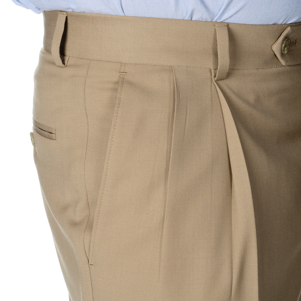 Palm Beach 100% Wool Gabardine Tan Pleated Pant Big and Tall - Blue Lion Men's Apparel - 4