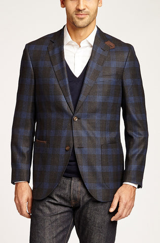 KROON THE EDGE CHARCOAL BLUE PLAID
