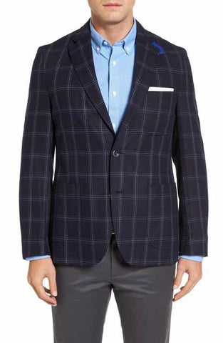KROON WHITE NAVY PLAID SILK