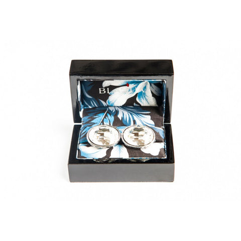BAROQUE OVAL CLEAR CRYSTAL CUFFLINKS