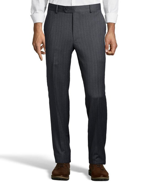 Palm Beach 100% Wool Grey Stripe Plain Front Suit Pant