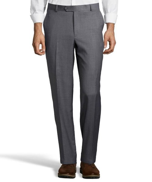 Palm Beach 100% Wool Grey Sharkskin Plain Front Suit Pant