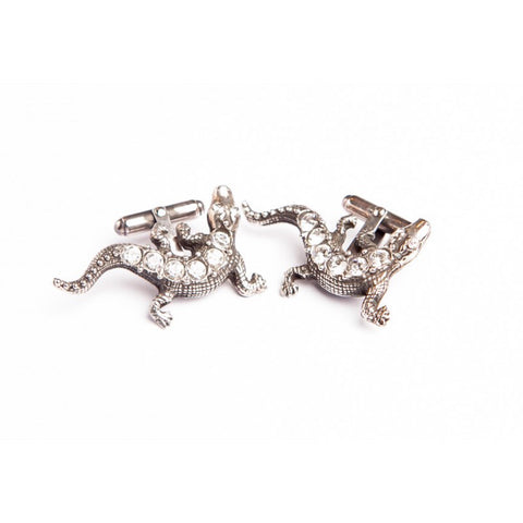 LIZARD CLEAR CRYSTAL CUFFLINKS