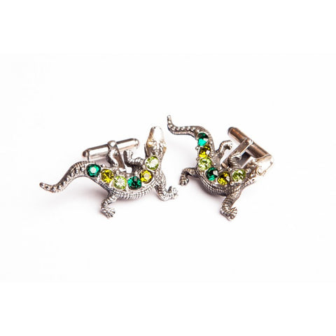 LIZARD GREEN CRYSTAL CUFFLINKS