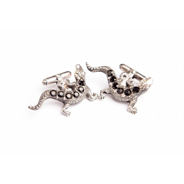 LIZARD JET CRYSTAL CUFFLINKS