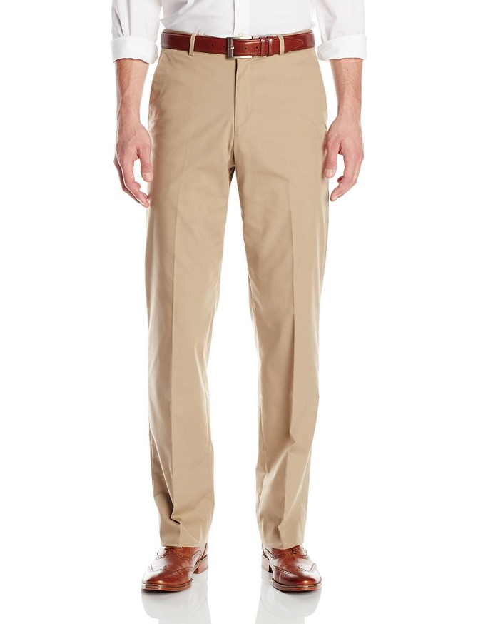 Palm Beach Oxford Khaki Poplin Suit Separate Flat Front Pant - Blue Lion Men's Apparel - 1