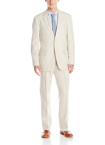 Palm Beach Baxter Natural Linen Two-Button Center Vent Suit