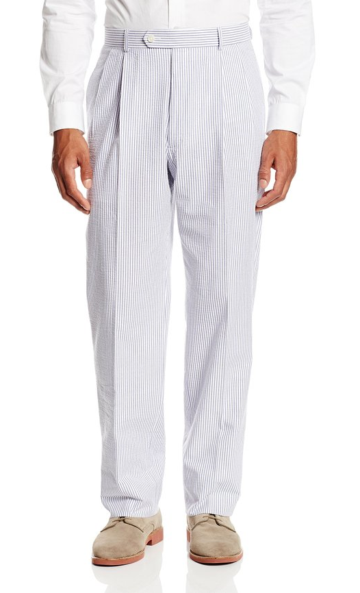 Palm Beach 'Original' Navy/White Seersucker Center-Vent Suit - Blue Lion Men's Apparel - 3