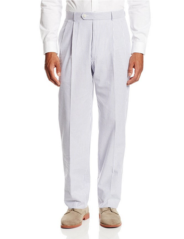 Palm Beach 'Original' Navy/White Seersucker Pleated Pant