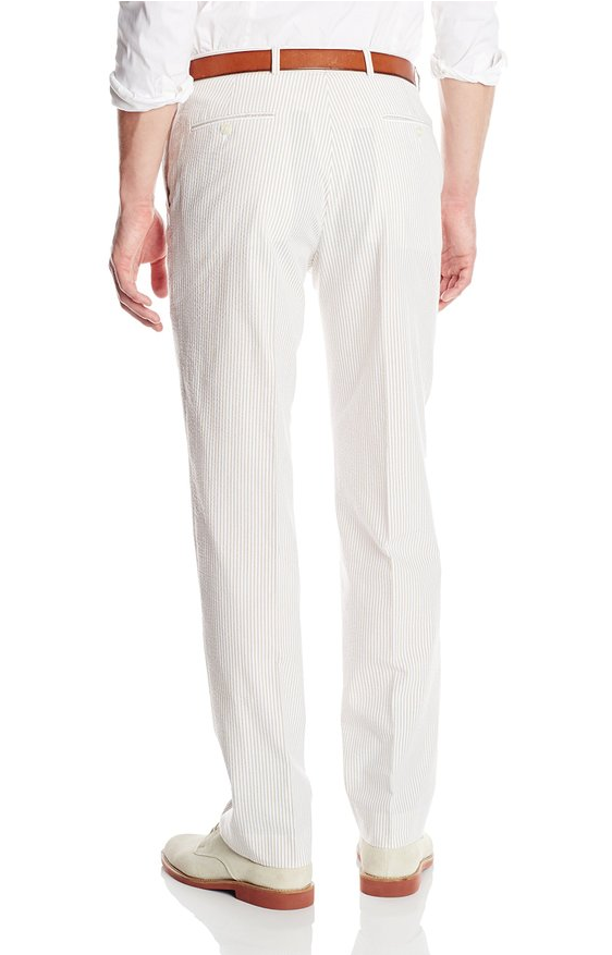 Palm Beach 'Original' Tan/White Seersucker Flat Front Pant - Blue Lion Men's Apparel - 2