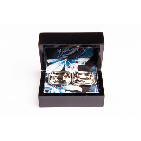 GREEK KEY SILVER CRYSTAL CUFFLINKS