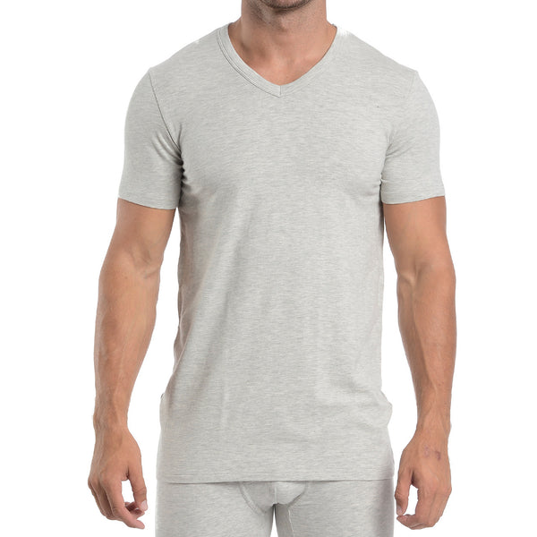 V-NECK - GREY HEATHER