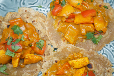 Gluten-Free Coconut Curry Chicken Tacos with Roti