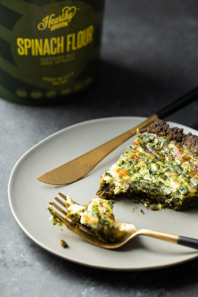 Spinach Quiche made with Almond and Spinach Flour