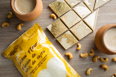 cashew flour bars with edible gold