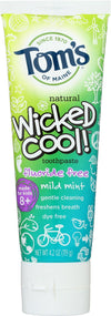 Tom's Of Maine Wicked Cool Toothpaste - Mild Mint, Fluoride-free - Case Of 6 - 4.2 Oz.