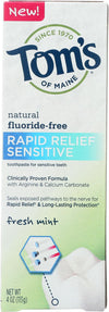 Tom's Of Maine Rapid Relief Sensitive Toothpaste - Fresh Mint, Fluoride-free - Case Of 6 - 4 Oz.