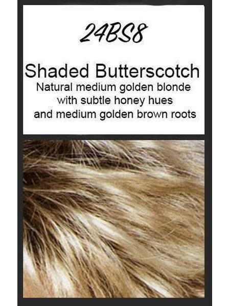 Color swatch showing Jon Renau's 24BS8: Shaded Butterscotch - natural medium golden blonde with subtle honey hues and medium golden brown roots