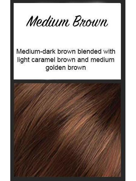 Color swatch showing Envy's Medium Brown: Medium-dark brown blended with light caramel brown and medium golden brown