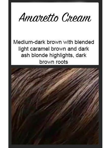 Color swatch showing Envy's Amaretto Cream: Medium-dark brown with blended light caramel brown and dark ash blonde highlights, with dark brown roots