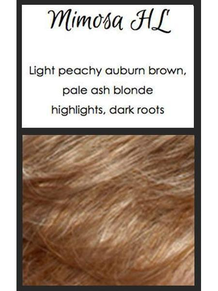 Mimosa HL: Light peachy auburn brown, pale ash blonde highlights, dark roots