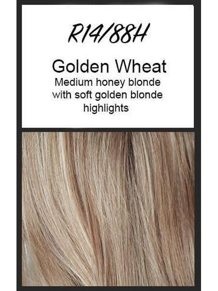 Color swatch showing Raquel Welch's R14/88H: Golden Wheat, Medium honey blonde with soft golden blonde highlights