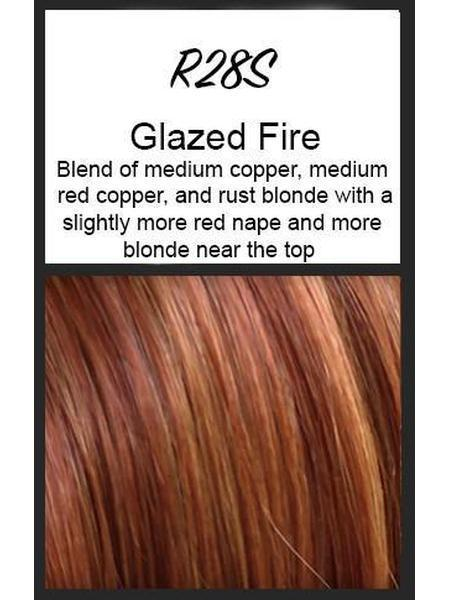 Color swatch showing Raquel Welch's R28S+: Glazed Fire, Blend of medium copper, medium red copper and rust blonde with a slightly more red nape and more blonde near the top