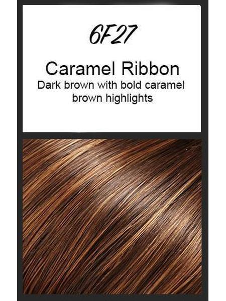 Color swatch showing Jon Renau's 6F27: Caramel Ribbon - dark brown with bold caramel brown highlights