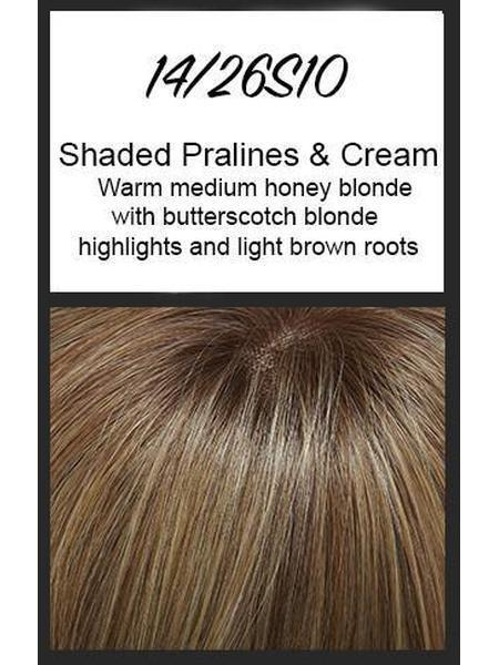 Color swatch showing Jon Renau's 14/26S10: Shaded Pralines & Cream - warm medium honey blonde with butterscotch blonde highlights and light brown roots
