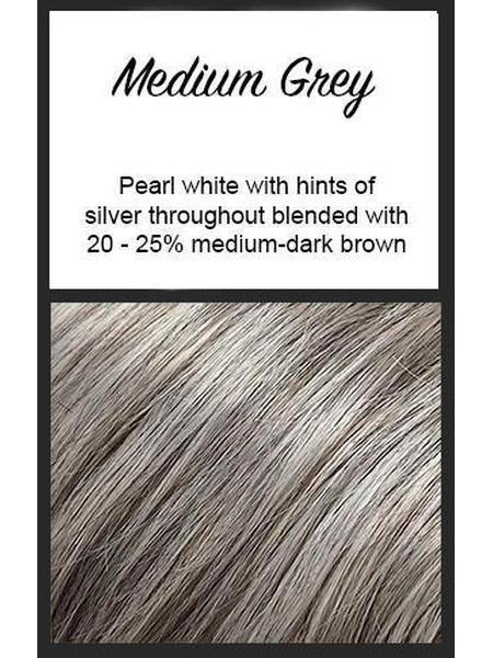 Color swatch showing Envy's Medium Grey: Pearl white with hints of silver throughout blended with 20-25% medium dark brown