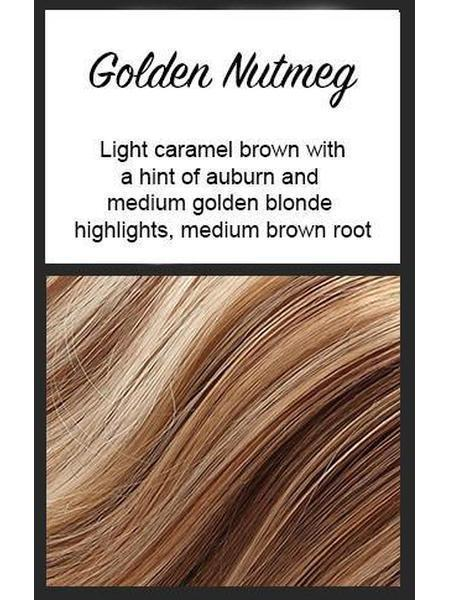 Color swatch showing Envy's Golden Nutmeg:  Light caramel brown with a hint of auburn and medium golden blonde highlights, medium brown roots