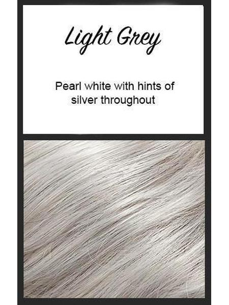 Color swatch showing Envy's Light Grey: Pearl white with hints of silver throughout
