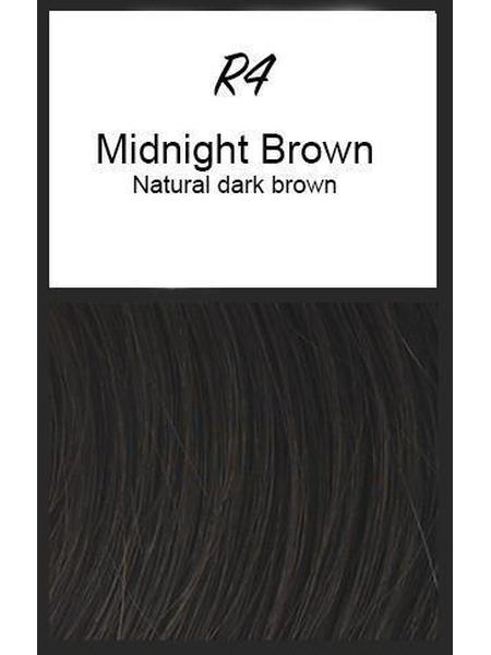 Color swatch showing Raquel Welch's R4: Midnight Brown, Natural Dark Brown
