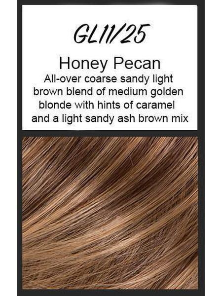 Color swatch showing Gabor's GL11/25: Honey Pecan - All-over coarse sandy light brown blend of medium golden blonde with hints of caramel and a light sandy ash brown mix
