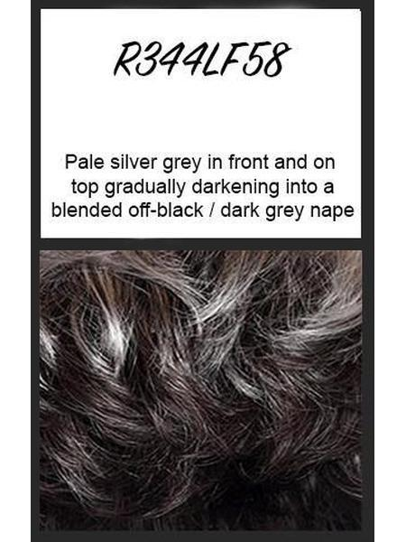 R344LF58: Pale silver grey in front and on top gradually darkening into a blended off-black/dark grey nape