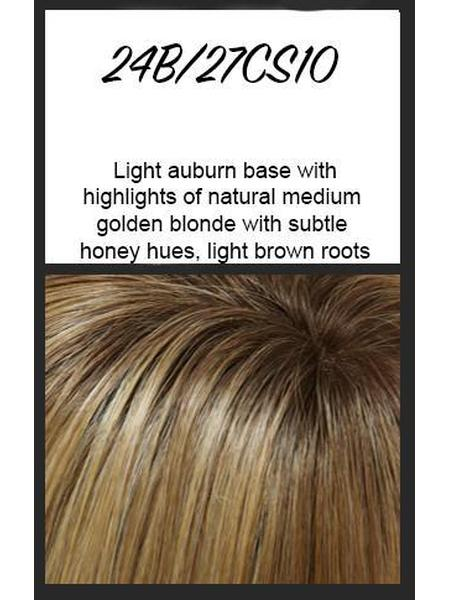 Color swatch showing Jon Renau's 24B/27CS10 - light auburn base with highlights of natural medium golden blonde with subtle honey hues, light brown roots