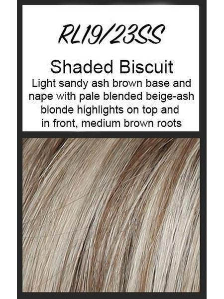 Color swatch showing Raquel Welch's SS19/23: Shaded Biscuit, Light sandy ash brown base and nape with pale blended beige-ash blonde highlights on top and in front, medium brown roots