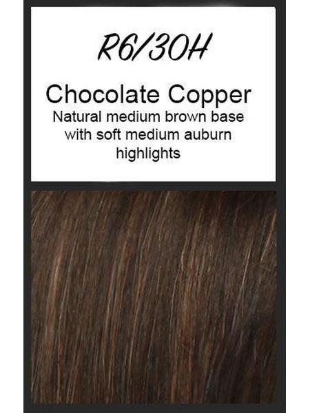 Color swatch showing Raquel Welch's R6/30H: Chocolate Copper, Natural medium brown base with soft medium auburn highlights