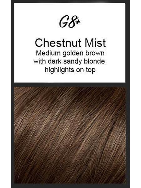 Color swatch showing Gabor's G8+: Chestnut Mist - Medium golden brown with dark sandy blonde highlights on top
