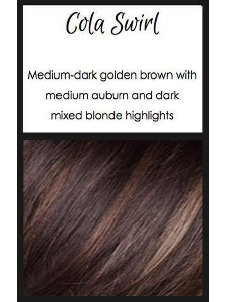 Cola Swirl: Medium-dark golden brown with medium auburn and dark mixed blonde highlights