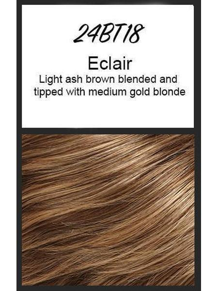 Color swatch showing Jon Renau's 24BT18: Eclair - light ash brown blended and tipped with medium gold blonde