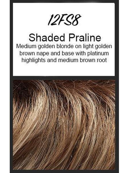 Color swatch showing Jon Renau's 12FS8: Shaded Praline - medium golden blonde on light golden brown nape and base with platinum highlights and medium brown root